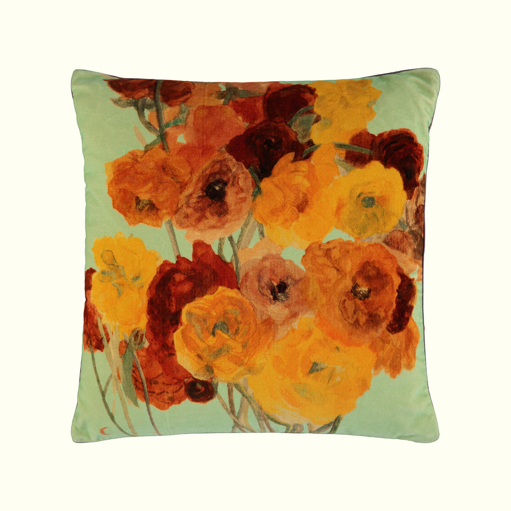A luxury British cotton velvet cushion by GVE in mint ochre Ranunculus print design.