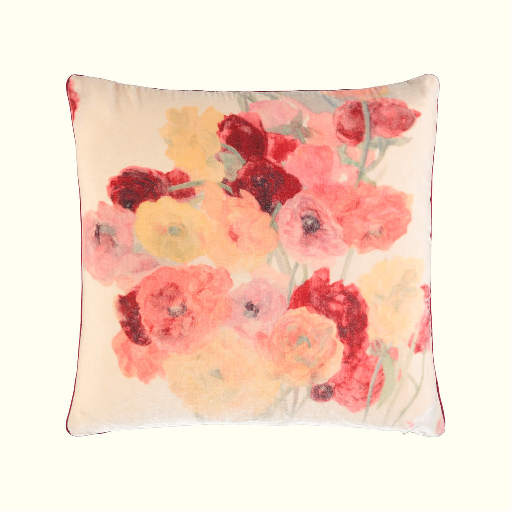 A luxury British doubled sided silk velvet cushion by GVE in cream and scarlet Ranunculus print design.