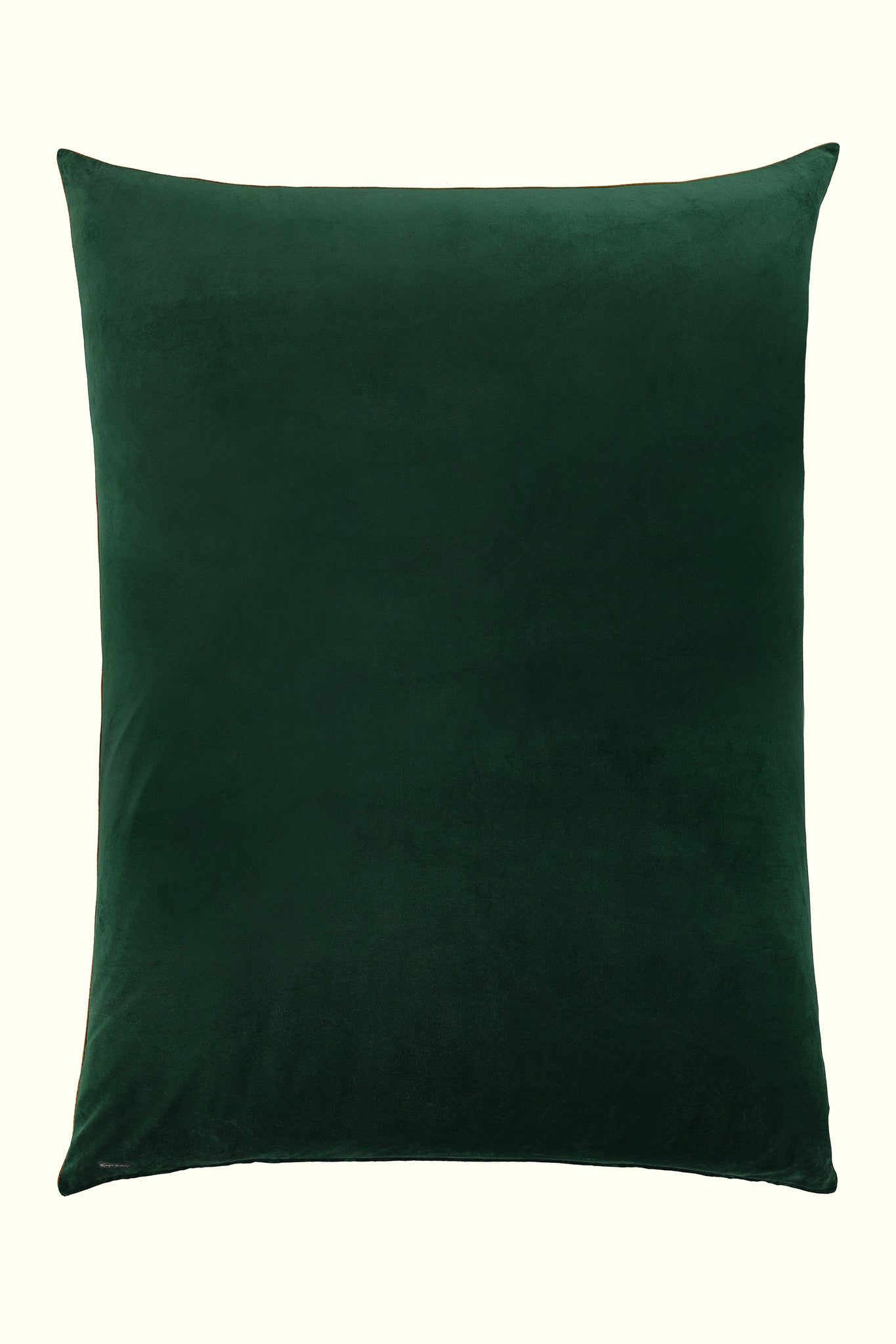 A luxury British cotton velvet large floor pillow by GVE in olive Dune print design.