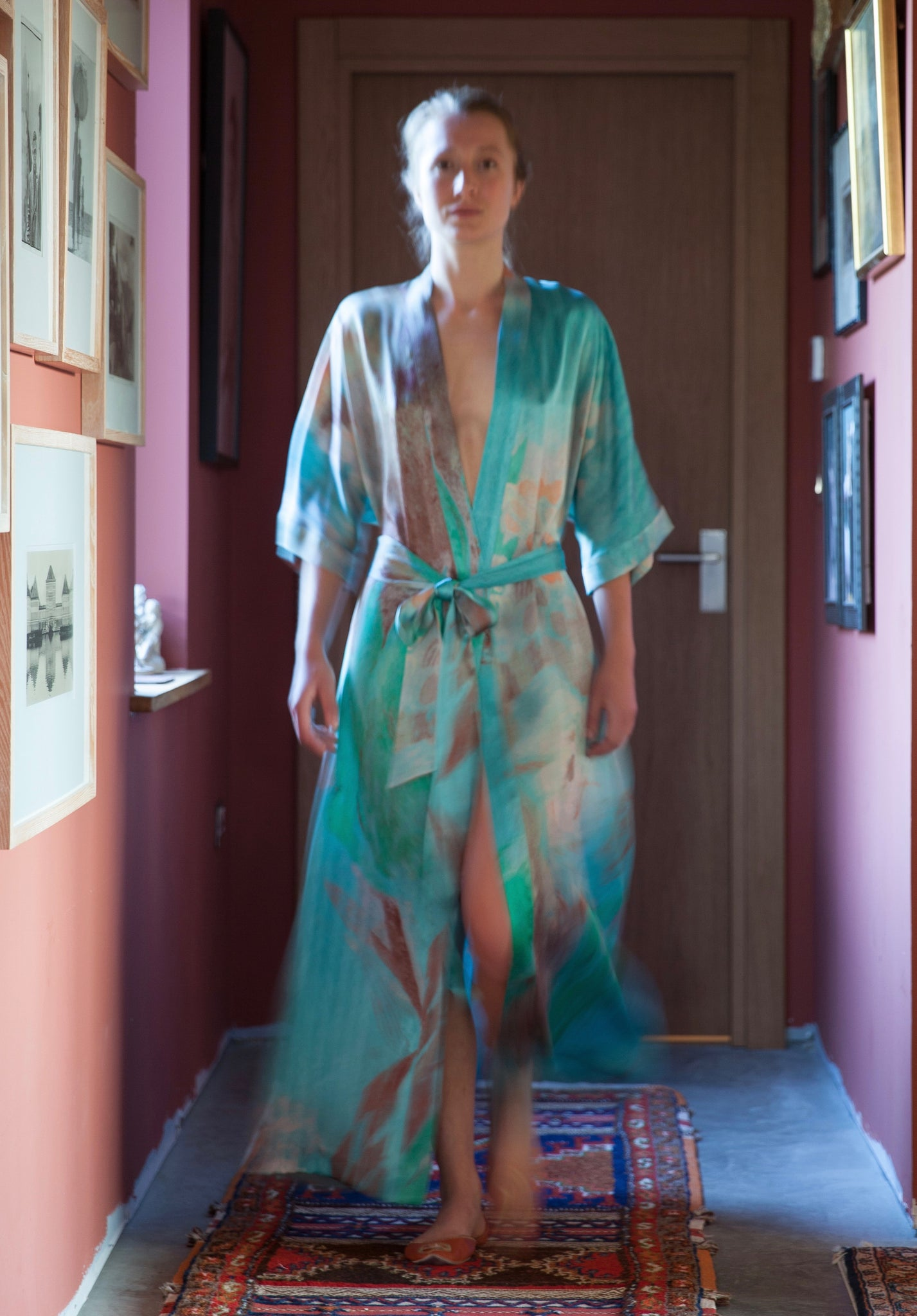GVE Robe Conversation in aqua by Elizabeth Zeschin