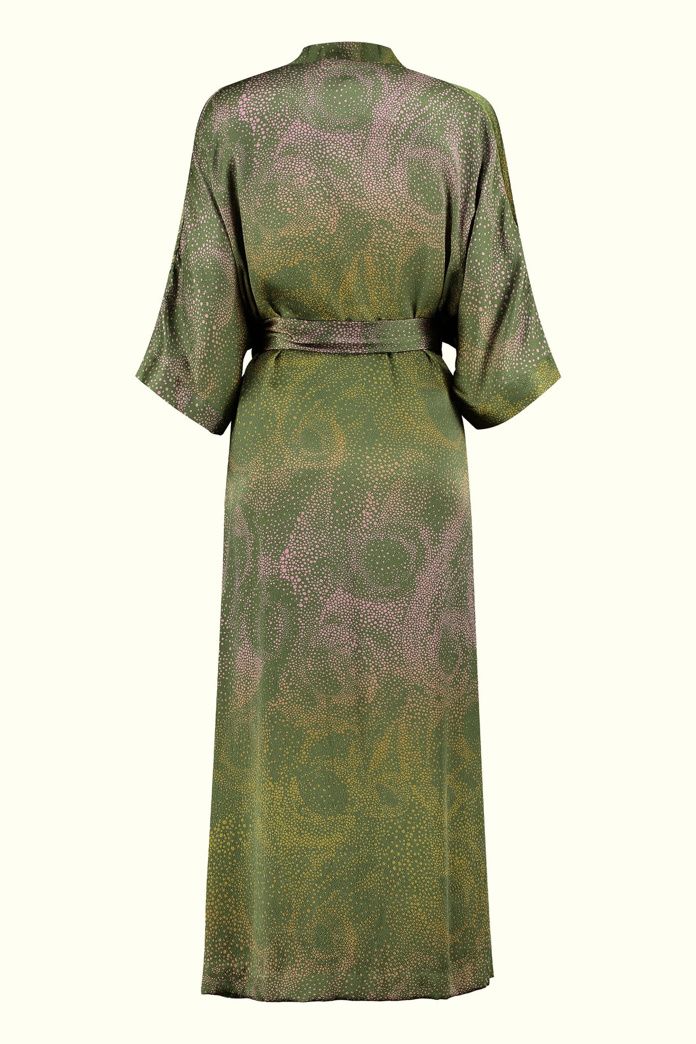 A luxury British silk robe by GVE in olive and pink Aurora print design.