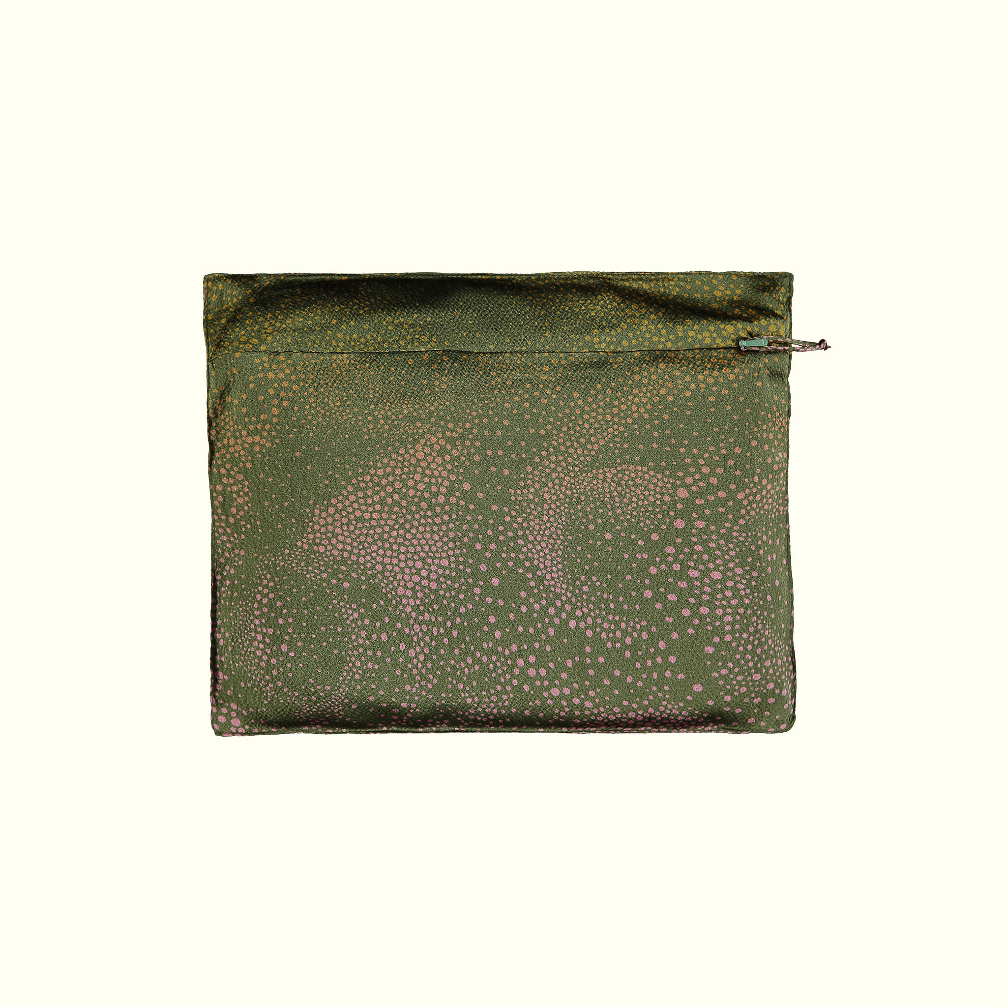 A luxury British silk robe carry bag by GVE in olive and pink Aurora print design.