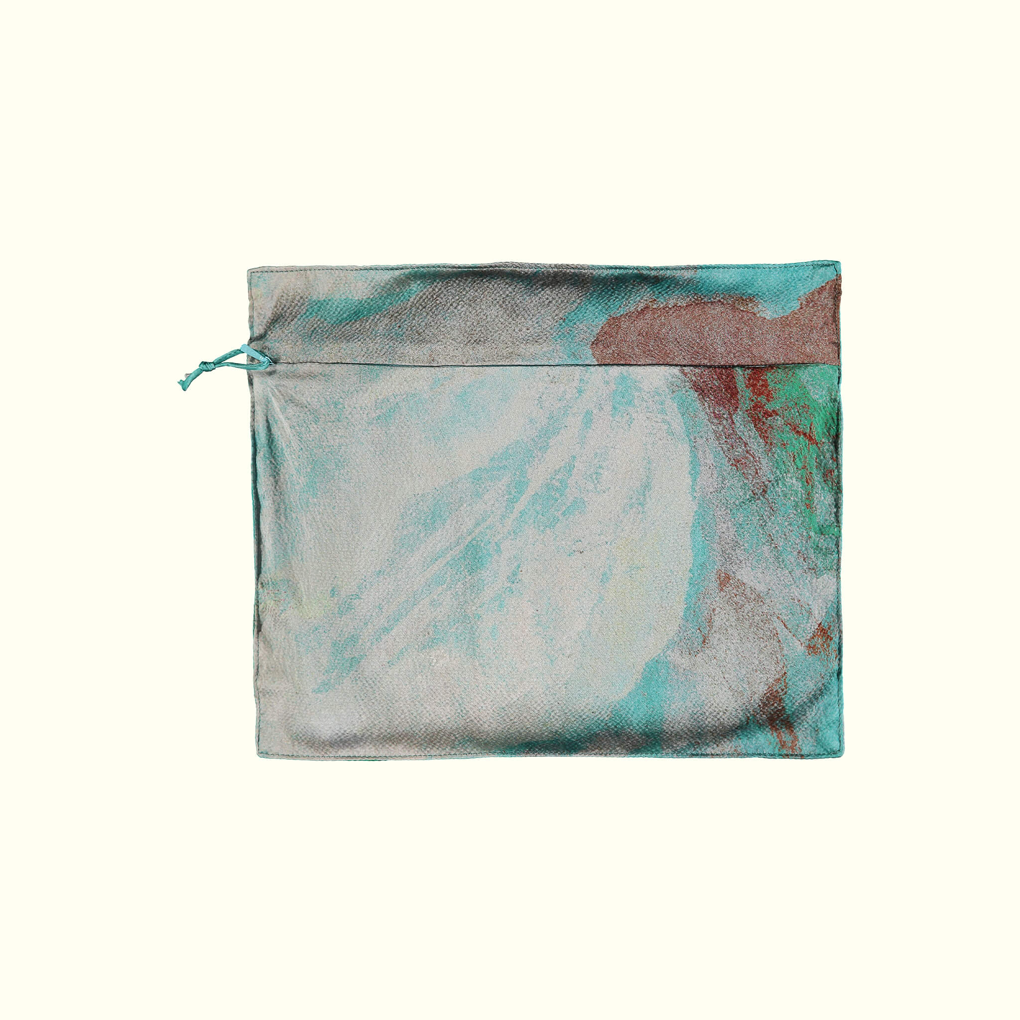 A luxury British silk robe carry bag by GVE  in aqua Conversation print design.