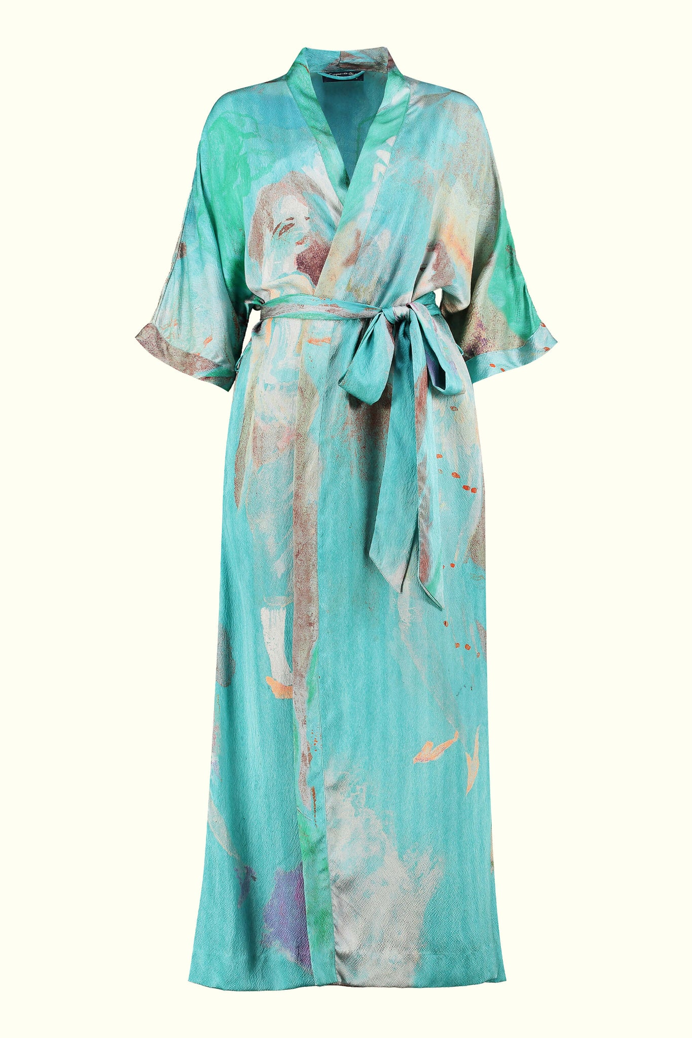 A luxury British silk robe by GVE in aqua Conversation print design.
