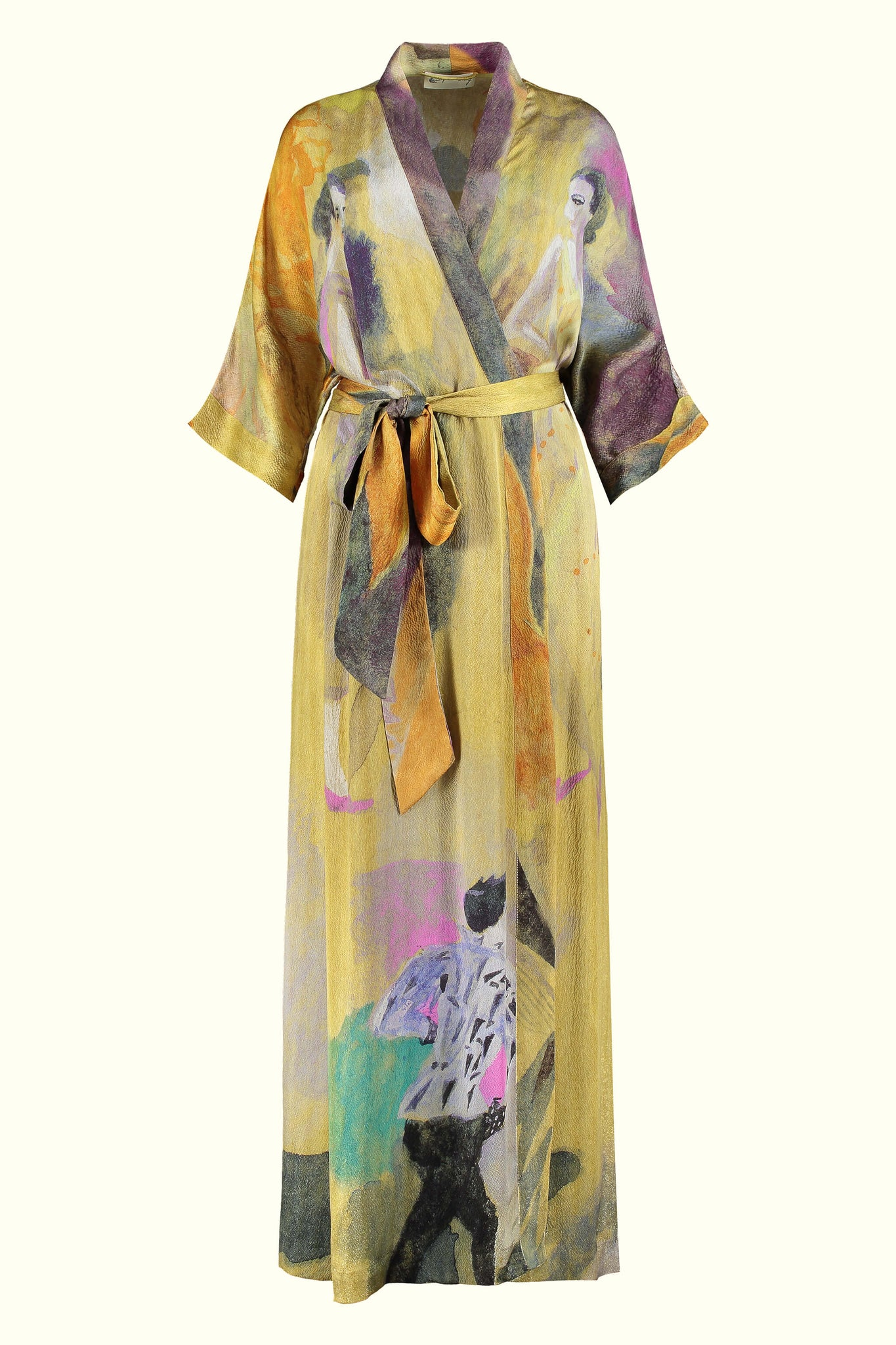A luxury British silk robe by GVE in gold Conversation print design.