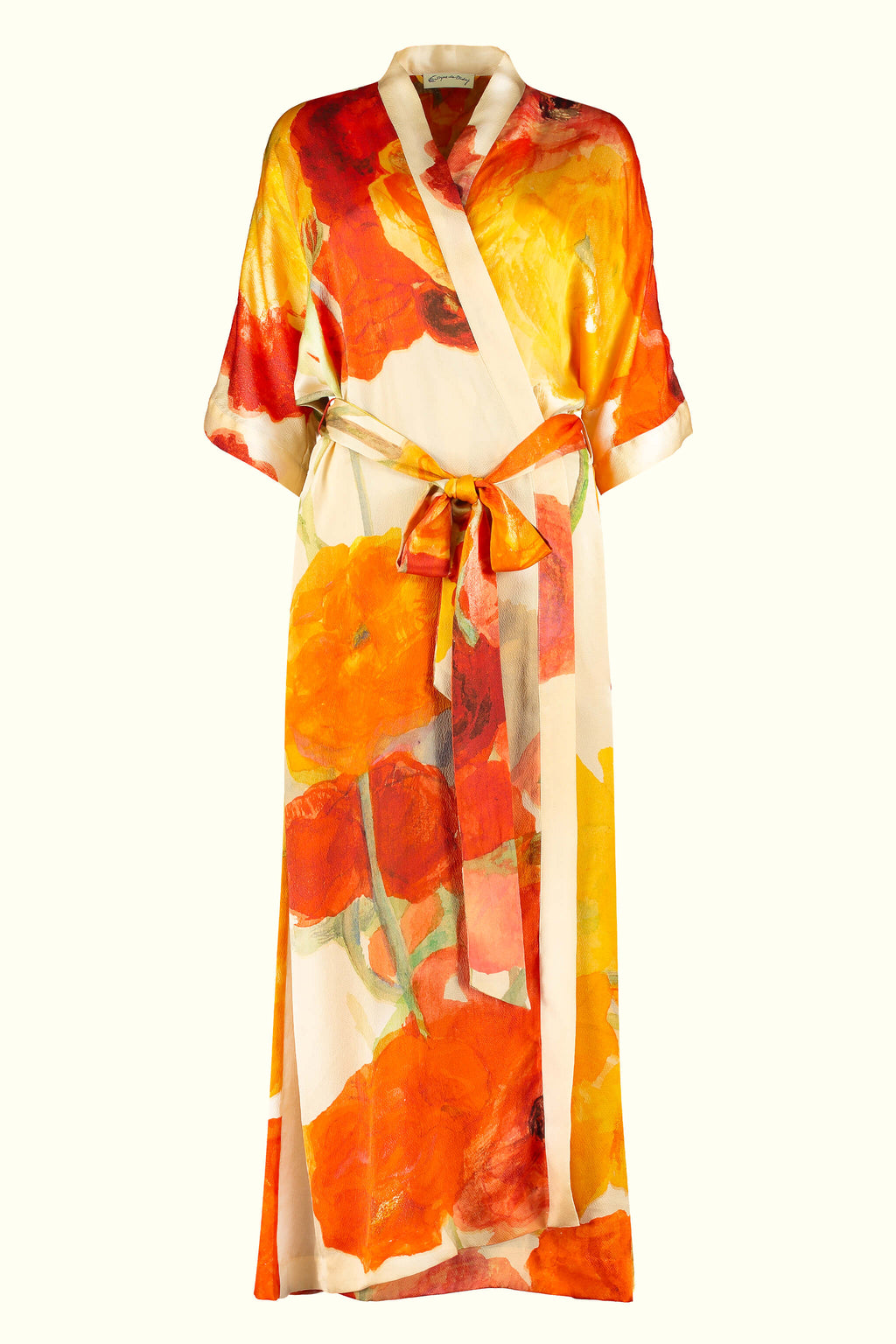 A luxury British silk robe by GVE in cream and scarlet Ranunculus print design.