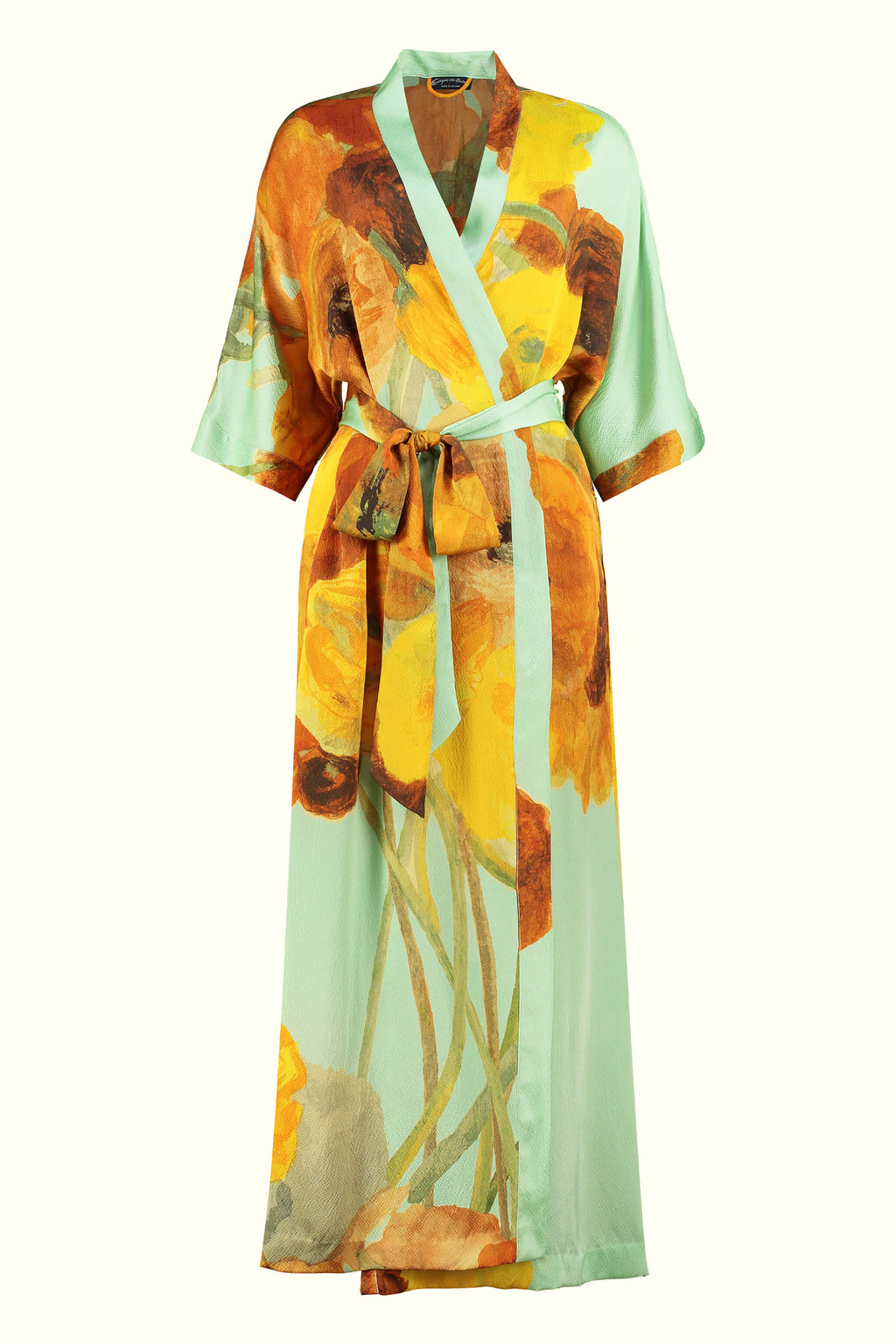 A luxury British silk robe by GVE in mint ochre Ranunculus print design.