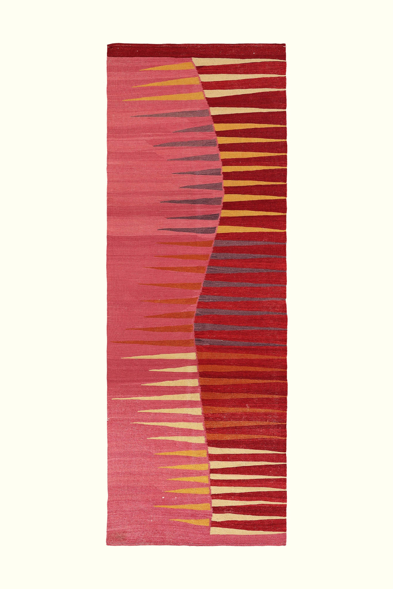 A luxury British handmade rectangular rug by GVE in ruby.