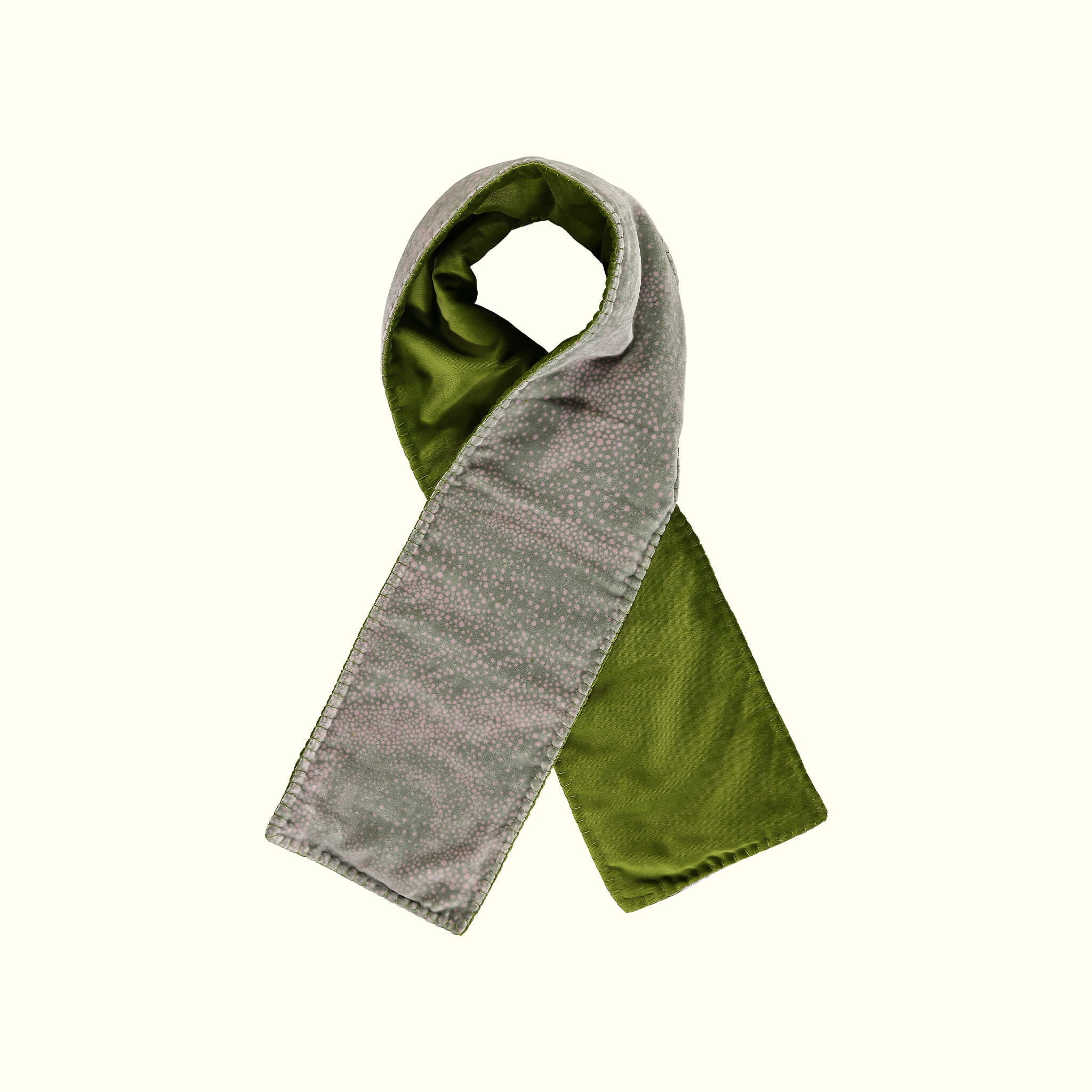 A luxury British silk velvet scarf by GVE in olive and pink Aurora print design.