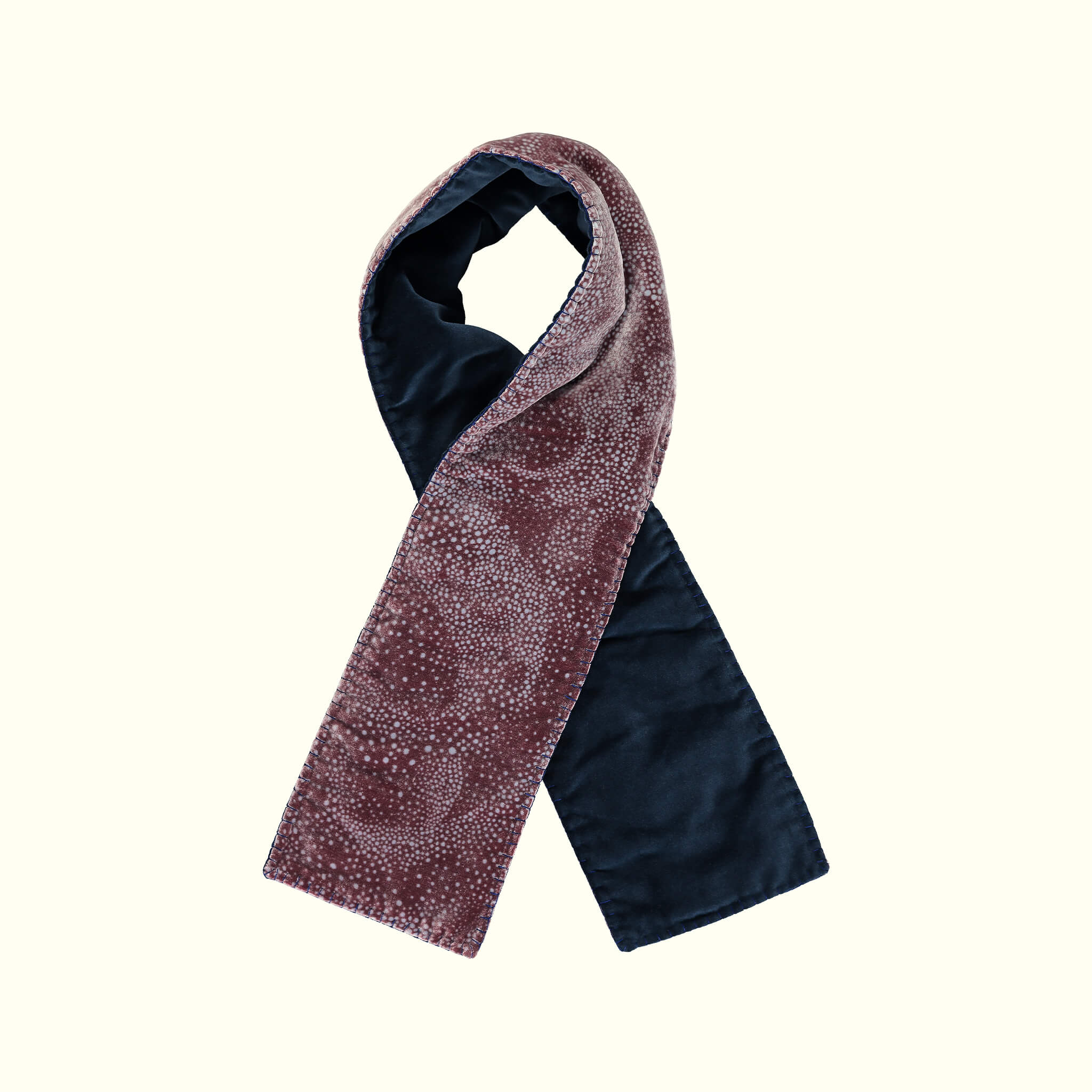 A luxury British silk velvet scarf by GVE in oxblood Aurora print design.