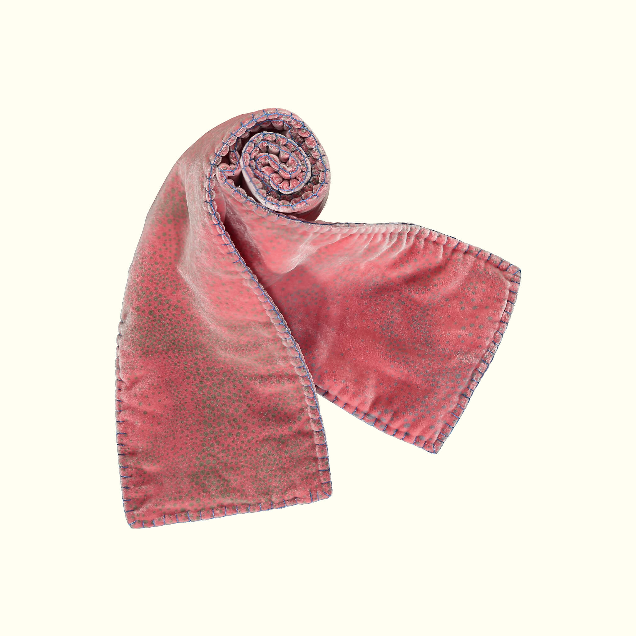 A luxury British silk velvet scarf by GVE in scarlet Aurora print design.