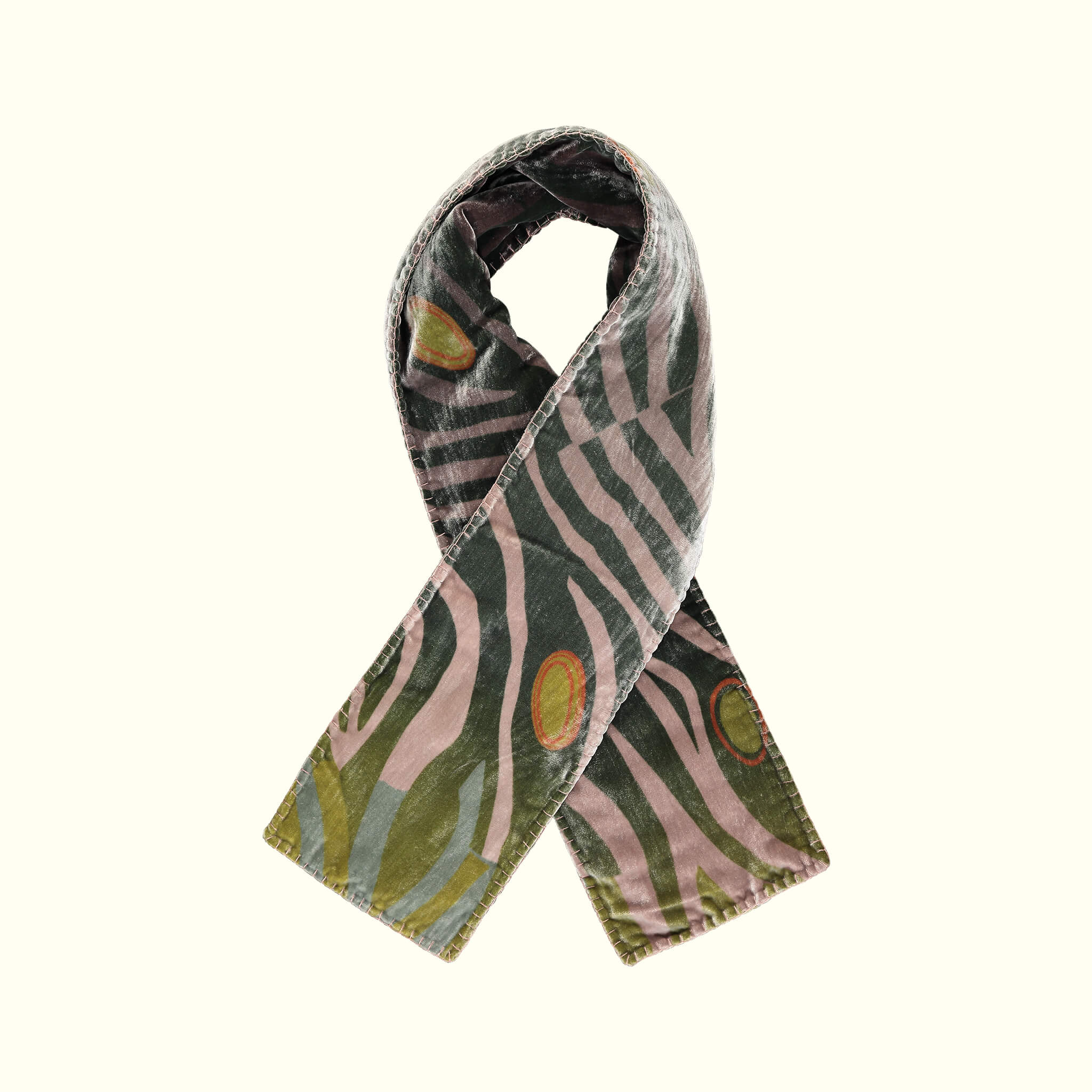 A luxury British silk velvet scarf by GVE in olive Dune print design.