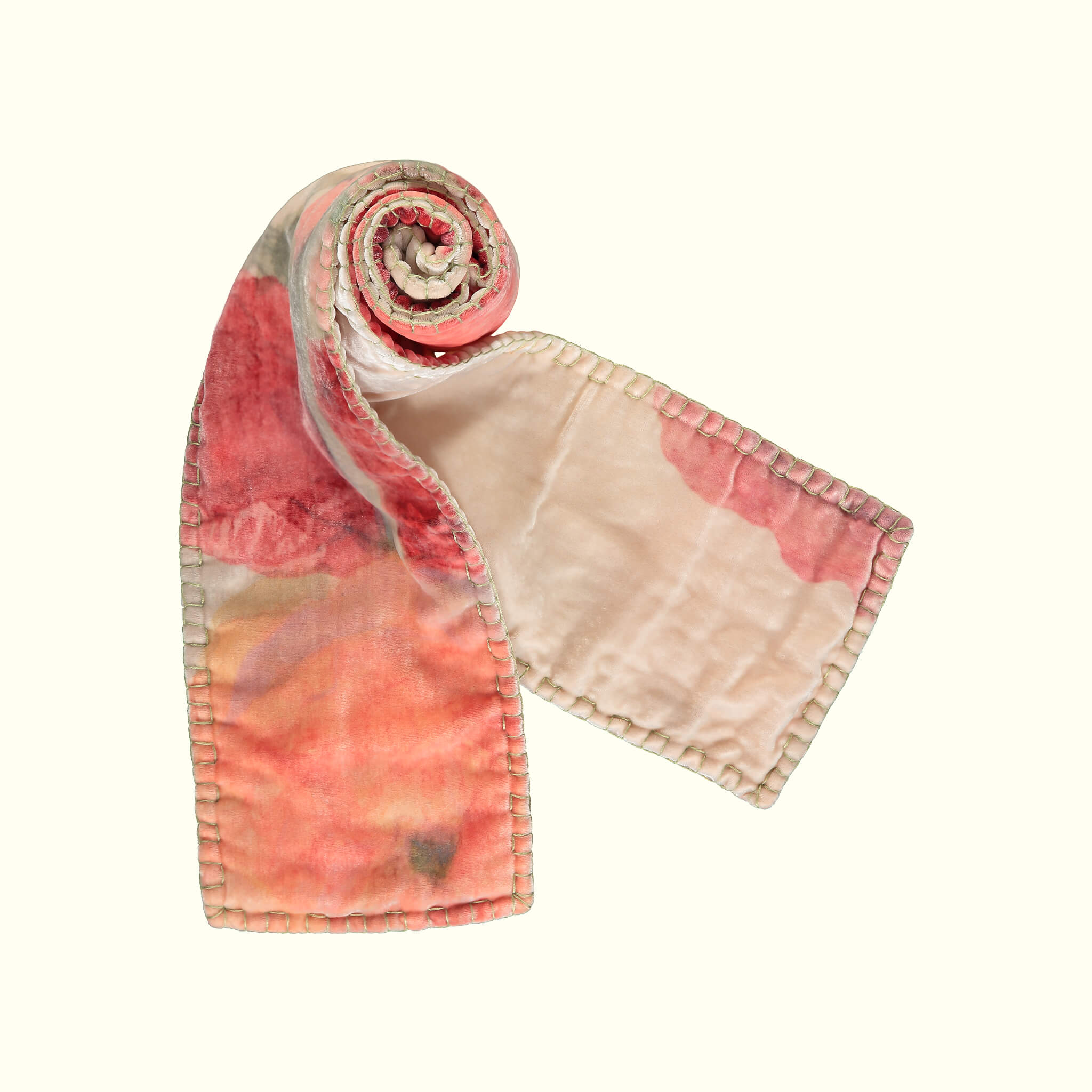 A luxury British silk velvet scarf by GVE in cream and scarlet Ranunculus print design.
