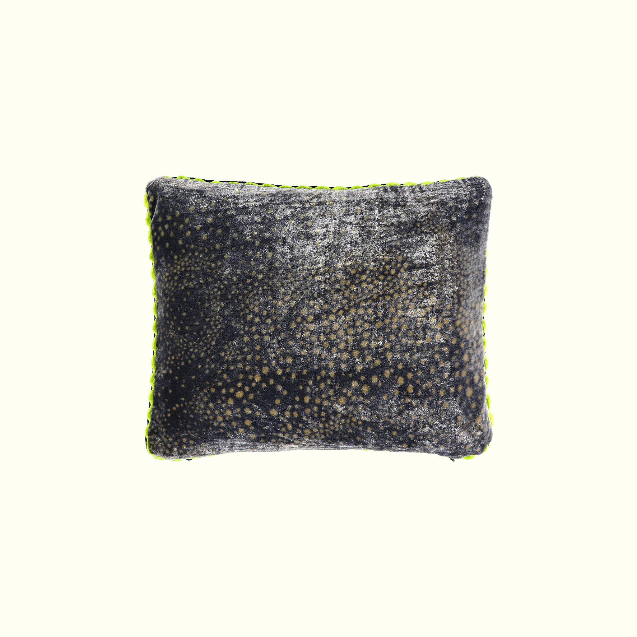 A luxury British silk velvet travel pillow by GVE in navy and gold Aurora print design.