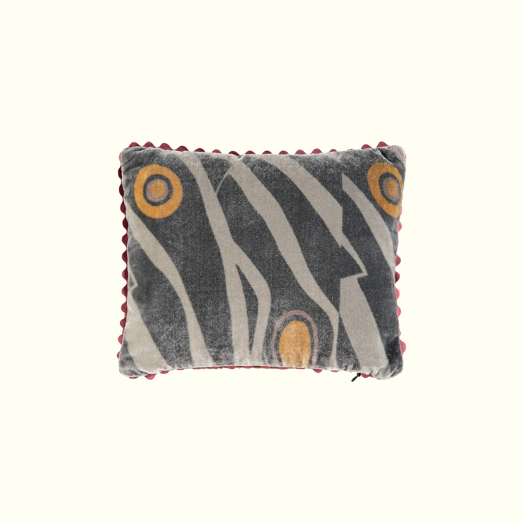 A luxury British silk velvet travel pillow by GVE in black Dune print design.