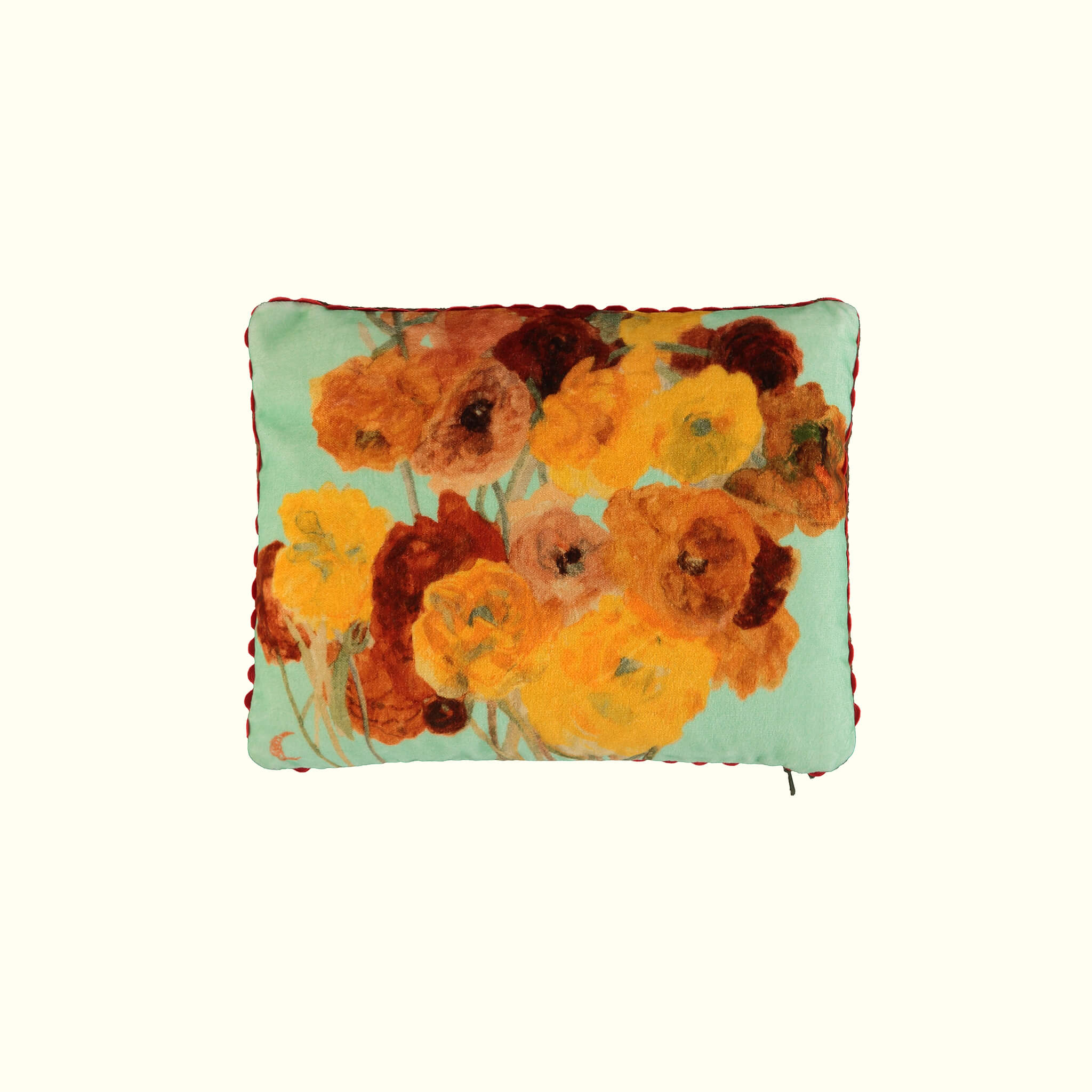 A luxury British cotton velvet travel pillow by GVE in mint ochre Ranunculus print design.