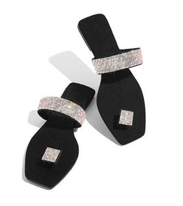 Single Finger Rhinestone Bright Diamond Slippers