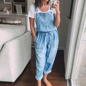 Blue Denim Overalls Jumpsuit Rompers