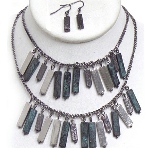 Patina multi metal bar necklace set