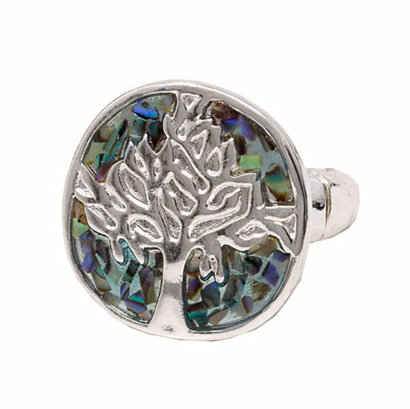 Women's Abalone Tree of Life Ring