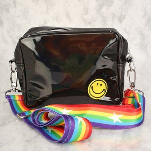Black Smiley Face Patch Holographic Cross Body Bag