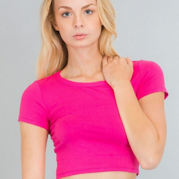Neon Pink Solid Short Sleeves Crop Top Size S, M, L