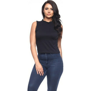 Plus Size Women's Black Mock Neck Top 1X/2X/3X