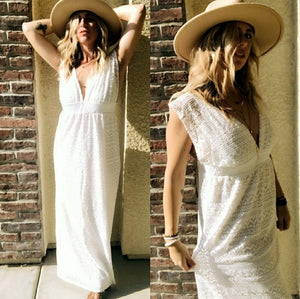 Women's White Sleeveless Crochet Maxi Dress