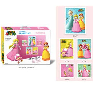 Princess Peach 5 Piece Framed Set