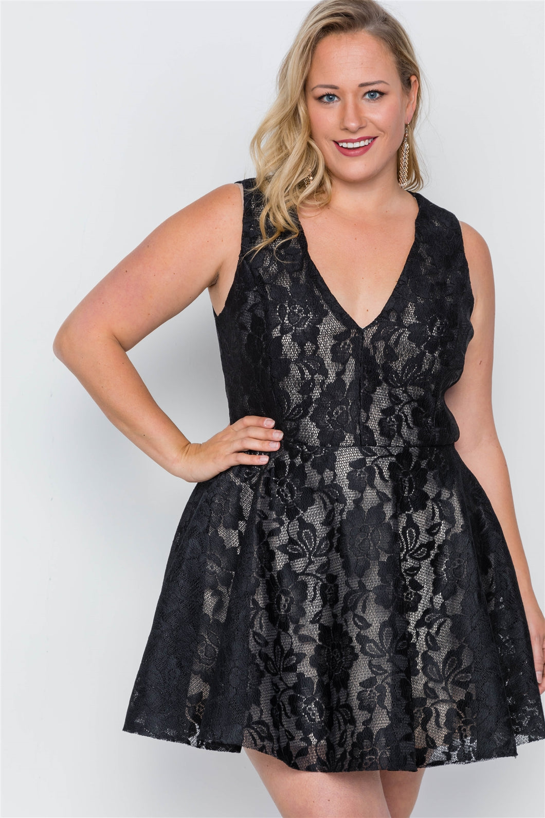 Plus Size Black Floral Lace Mini Skater Dress