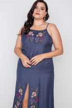Load image into Gallery viewer, Plus Size Navy Cami Floral Embroidery Boho Maxi Dress