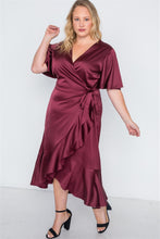 Load image into Gallery viewer, Plus Size Satin Flounce Dress