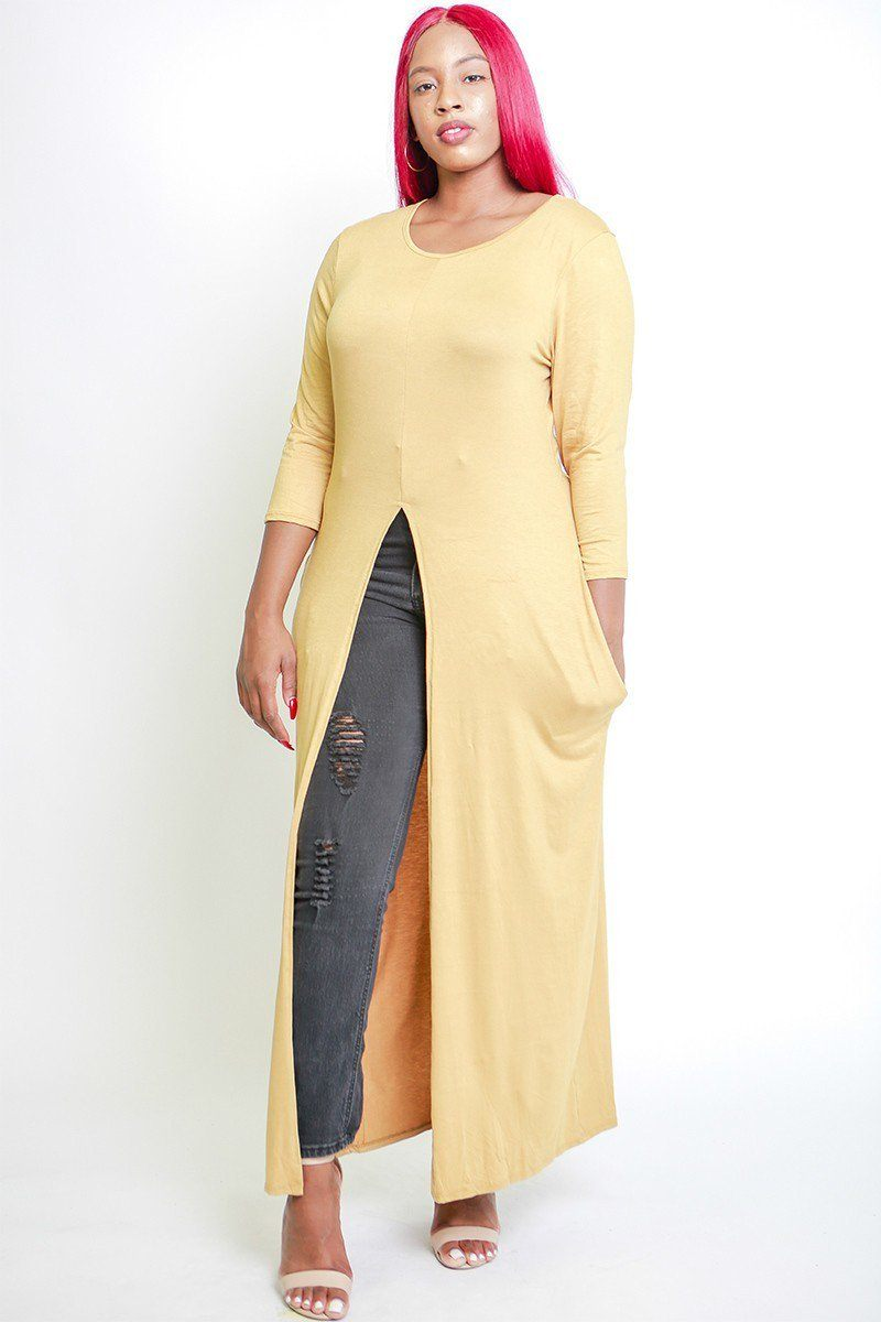 Solid Long Body Tunic Top