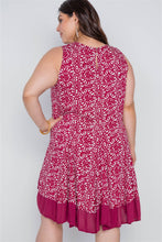 Load image into Gallery viewer, Plus Size Red White Floral Sleeveless Boho Dress