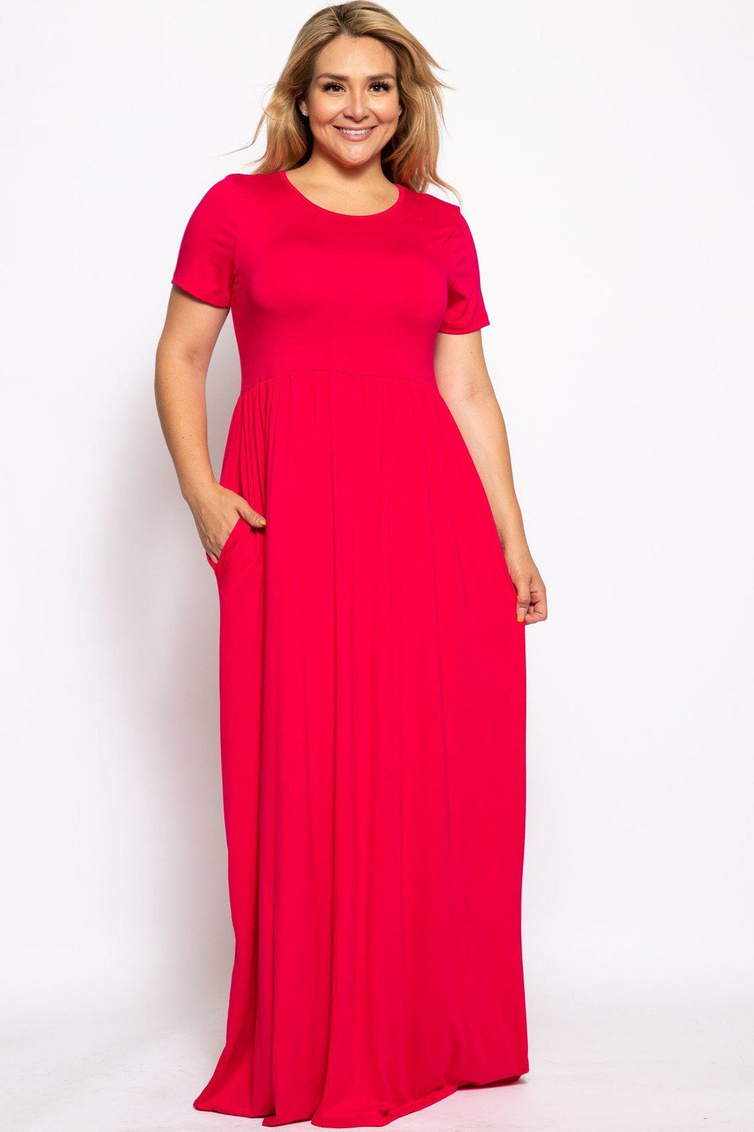 Vibrant Short Sleeved Maxi Dress