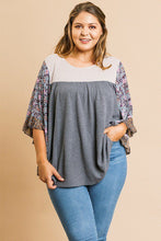Load image into Gallery viewer, Sheer Floral Mixed Print Dolmen Sleeve Waffle Knit Yoke Knit Top