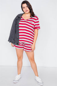 Plus Size Rolled Short Sleeve Stripe Comfy Short Set