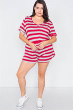 Load image into Gallery viewer, Plus Size Rolled Short Sleeve Stripe Comfy Short Set