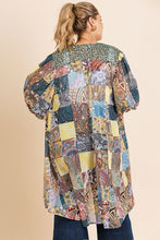 Load image into Gallery viewer, Sheer Animal Scarf Mixed Print Long Puff Sleeve Open Front Long Kimono