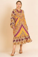 Load image into Gallery viewer, Scarf Mixed Print Long Puff Sleeve Keyhole Maxi Dress