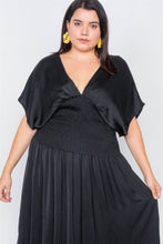 Load image into Gallery viewer, Plus Size V-neck Satin Kimono Sleeve Maxi Dress