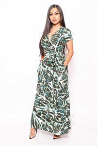 Print Short Sleeve, Maxi Wrap Dress