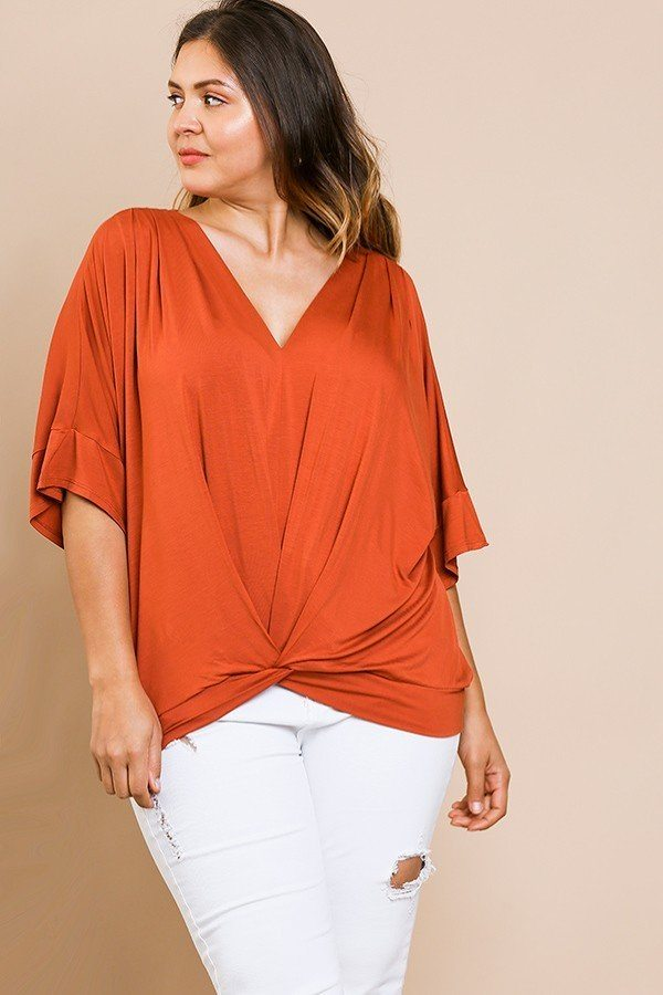 Short Bell Sleeve Basic V-neck Top