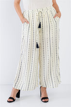 Load image into Gallery viewer, Plus Size Ivory Navy Blue Bohemian Print Self Tie Tassel Pant