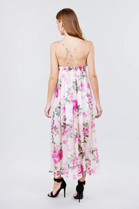 Deep V-neck W/cross Strap Print Maxi Dress