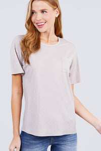 Short Sleeve Round Neck One Pocket Box Knit Top