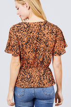 Load image into Gallery viewer, Ruffle Short Sleeve V-neck Surplice Side Ribbon Tie Woven Top
