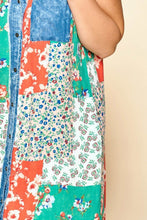 Load image into Gallery viewer, Mixed-floral Patchwork Printed Button-down Maxi Dress