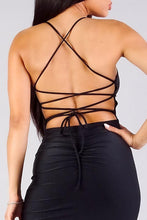 Load image into Gallery viewer, Spaghetti Strap Lace Up Back Ruched Mini Dress