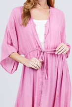 Load image into Gallery viewer, Elbow Sleeve Waist Ribbon Tie Button Down Long Woven Cardigan